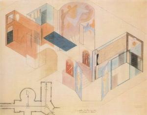 oskar Schlemmer plano mural edificio bauhaus en Weimar.